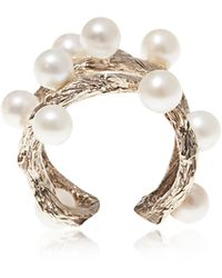 Bernard Delettrez Thorny Branch Silver Ring W/ Pearls