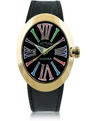 LOCMAN Change Gold Plated Stainless Steel Oval Case Women's Watch W/3 Leather Straps - Black