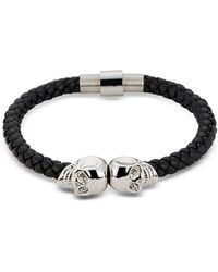 Northskull - Black Nappa Leather & Rhodium Twin Skull Men's Bracelet - Lyst