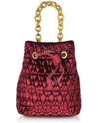 Furla - Quilted Velvet Stacy Cometa Mini Drawstring Bucket Bag - Lyst