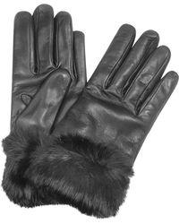a652e113c168ab FORZIERI - Schwarze Lederhandschuhe aus italienischem Leder mit Pelz - Lyst