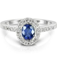 Forzieri | Sapphire And Diamond 18k White Gold Ring | Lyst