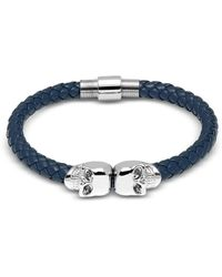 Northskull - Denim Blue Nappa Leather W/ Silver Twin Skull Bracelet - Lyst