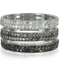Bernard Delettrez - Triple Band 18k White Gold Ring W/white Grey And Black Diamonds - Lyst