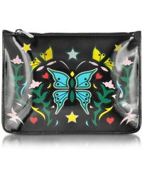 Mary Katrantzou - Graphic Butterfly Black Nappa Leather Pouch - Lyst