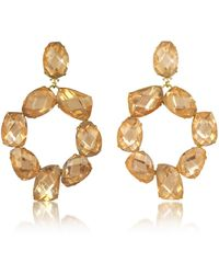 Tory Burch | Blossom Pink And Vintage Gold Stone Abstract Wreath Clip-on Earrings | Lyst