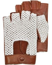 FORZIERI - Brown Leather And Cotton Men's Driving Gloves - Lyst