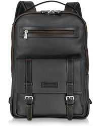 Chiarugi - Black And Brown Leather Backpack - Lyst