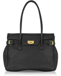 Fontanelli - Black Embossed Leather Large Satchel Bag - Lyst