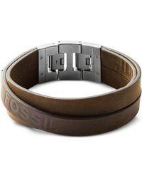 Fossil - Wide Multi-wrap Brown Men's Bracelet - Lyst