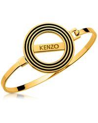 KENZO - Goldtone Reversible Logo Bangle Bracelet - Lyst