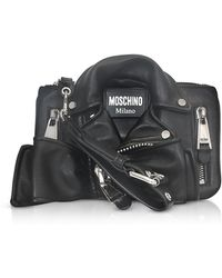 Moschino - Black Leather Biker Jacket Clutch - Lyst