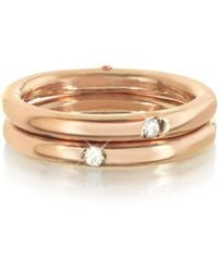 Bernard Delettrez - 9k Pink Gold Double Secret Ring W/diamonds - Lyst