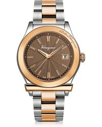 Ferragamo - Ferragamo 1898 Sport Rose Gold Ip And Stainless Steel Men's Bracelet Watch W/brown Dial - Lyst