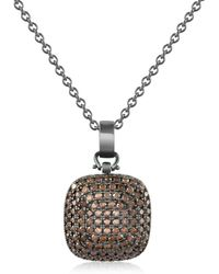 Azhar | Cubic Zirconia And Sterling Silver Square Pendant Necklace | Lyst