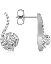 FORZIERI - 0.68 Ctw Diamond Pave 18k White Gold Earrings - Lyst