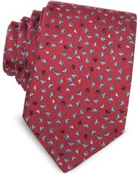 Lanvin - Geometric Square Patterned Woven Silk Tie - Lyst