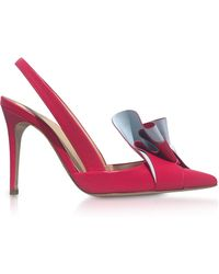 Delpozo - Two-tone Leather Ruffle Slingback Court Shoes - Lyst
