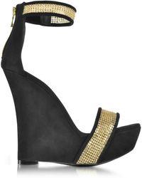 Balmain Samara Golden Mesh and Black Suede Wedge Sandals - Noir