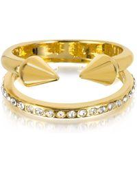 Vita Fede - Ultra Mini Gold Tone Titan Band Ring W/crystals - Lyst