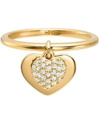 Michael Kors - Precious Metal-plated Sterling Silver Pavé Heart Ring - Lyst