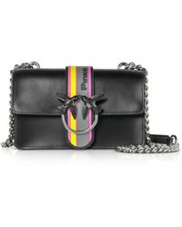 Pinko - Black Leather Mini Love Sport Shoulder Bag - Lyst