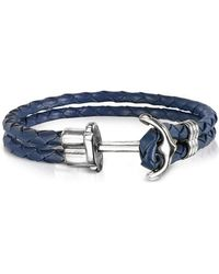 FORZIERI - Navy Blue Leather Men's Bracelet W/anchor - Lyst