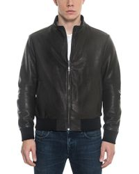 FORZIERI - Black Leather And Nylon Men's Reversible Jacket - Lyst