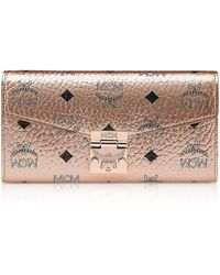 MCM - Large Champagne Gold Visetos Patricia Crossbody Wallet - Lyst