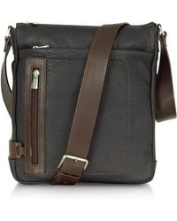 Chiarugi - Black And Brown Leather Vertical Messenger - Lyst