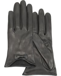 FORZIERI - Leather Gloves With Bow - Lyst