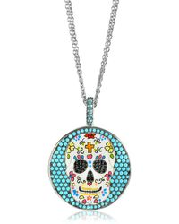 Azhar - Calavera Skull Charm Rhodium Plated Sterling Silver Pendant Necklace - Lyst