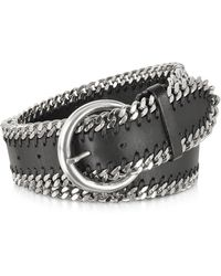 FORZIERI - Black Leather Chain Belt - Lyst