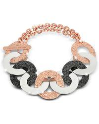 Rebecca - R-zero Rose Gold Over Bronze And Steel Chain Bracelet - Lyst