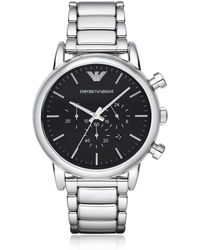Emporio Armani - Silvertone Stainless Steel Men's Watch W/black Dial - Lyst