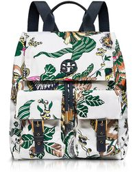 Tory Burch - Tilda Ivory Happy Times Printed Nylon Flap Backpack - Lyst