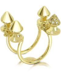 Bernard Delettrez - Four Studs Gold And Cognac Diamonds Ring - Lyst