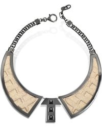 Avril8790 - Bavero Contemporaneo Ruthenium Plated Brass And Golden Viscose Necklace - Lyst