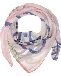 Vivienne Westwood - Light Pink & Navy Blue Foul Flash Orbs Print Silk Wrap - Lyst