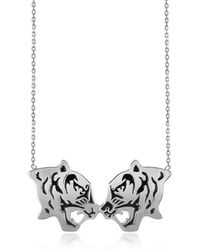 KENZO - Rhodium Silver And Black Lacquer Fighting Tiger Necklace - Lyst