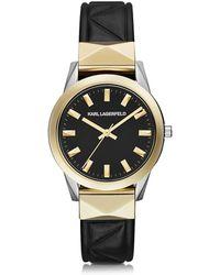 Karl Lagerfeld - Labelle Stud Klassic Orologio Donna in Acciaio e Pelle Nero/Oro - Lyst