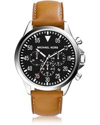 Michael Kors - Gage Silver Tone Stainless Steel Case And Cognac Leather Strap Men's Chrono Watch - Lyst
