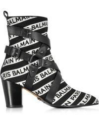Balmain - Jilly Stripe Logo Ankle Boots - Lyst
