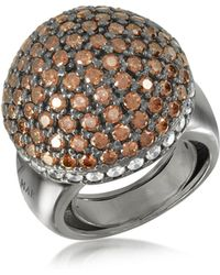 Azhar Sterling Silver Cubic Zirconia Semi-sphere Cocktail Ring