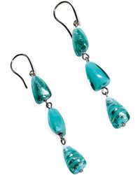 Antica Murrina - Marina 1 - Turquoise Green Murano Glass And Silver Leaf Dangling Earrings - Lyst
