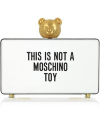 Moschino - This Is Not A White Clutch W/golden Teddy Bear - Lyst