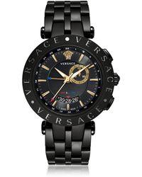 Versace - V-Race GMT Orologio da Uomo in Acciaio Nero e Quadrante Nero e Oro - Lyst