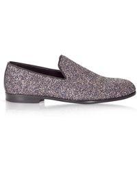 Jimmy Choo Purple Glitter Loafers