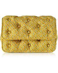 Benedetta Bruzziches - Sharks Printed Yellow Satin Silk Carmen Shoulder Strap - Lyst