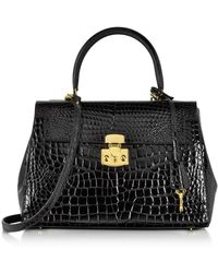 Fontanelli - Shiny Black Croco-style Leather Handbag - Lyst
